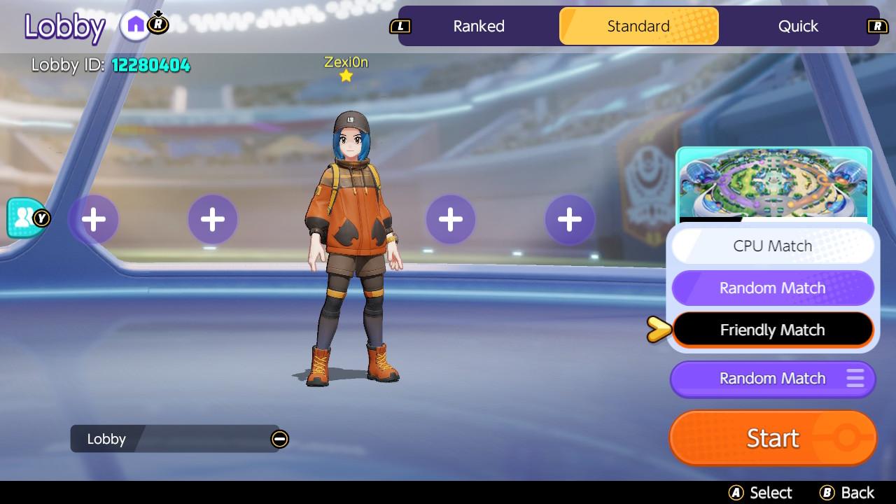 crear una partida privada en Pokémon Unite